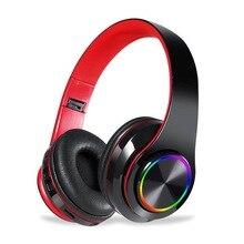 Auriculares auriculares inalámbricos con Bluetooth con luz LED de colores, auriculares estéreo Hifi con cancelación de ruido y micrófono con ranura para tarjeta TF