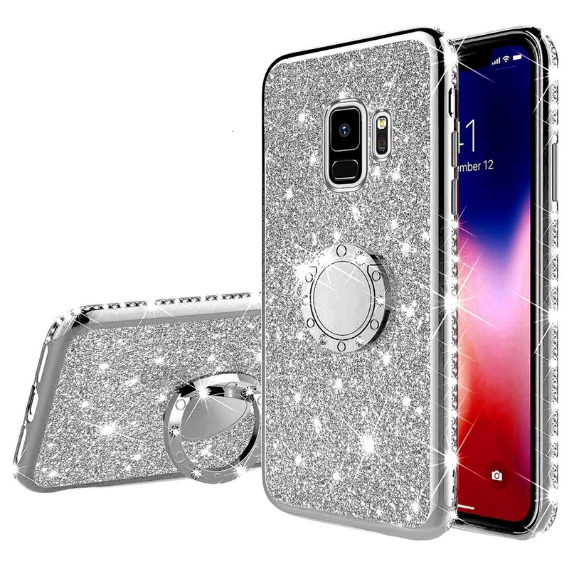 Diamond Finger <font><b>Ring</b></font> <font><b>Case</b></font> For <font><b>Samsung</b></font> <font><b>Galaxy</b></font> J6 A6 A7 A8 Plus 2018 A5 2017 A10 A20 A30 A40 A50 <font><b>A70</b></font> M20 A20E Soft Glitter Cover image