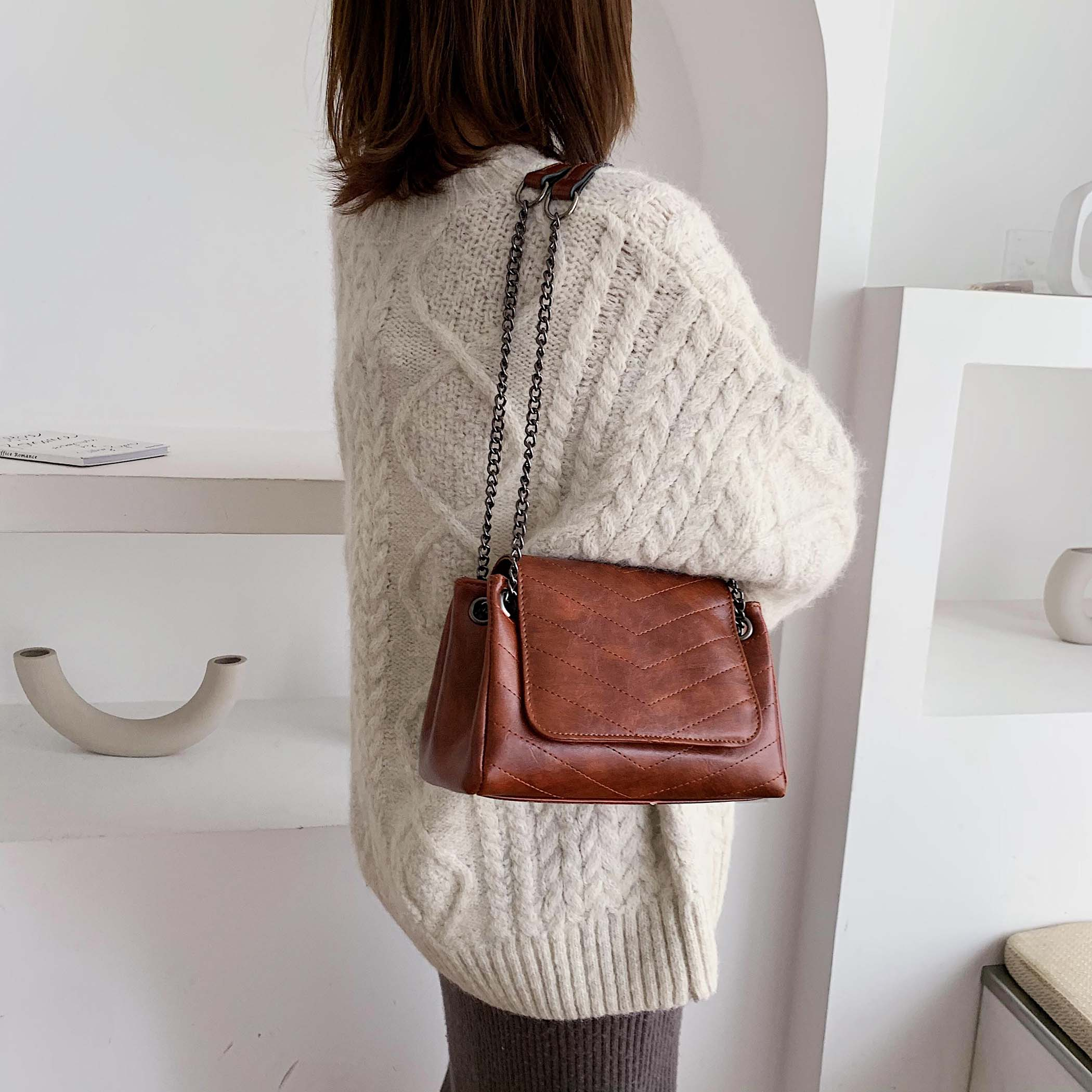 Solid Color Chain PU Leather Shoulder Bags For Women 2019 High Quality Crossbody Messenger Bag Lady Handbags Hand Bag 1