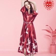 Sleepwear Satin Kimono Gown Wedding-Robe Flower Silky Bridesmaid Bathrobedress Sexy Long