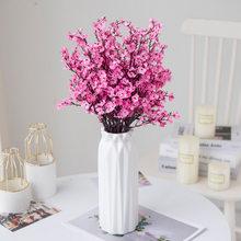 Q Gypsophila Artificial Flowers White Branch High Quality Babies Breath Fake Flowers Long Bouquet Home Wedding Decoration Autumn