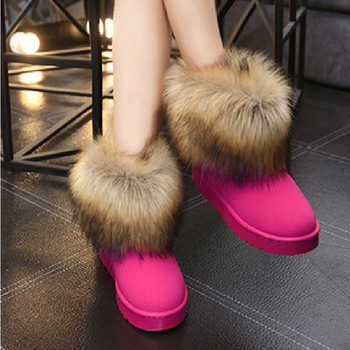 Winter Warm Women Fur Snow Shoes Flats Ankle Snow Boots Women  2020 Fashion Black Round Toe Casual Slip on Ladies Boots Hot Sale winter boots women ankle flock snow boots flats fur shoes woman fashion casual zip round toe non slip plus velvet to keep warm