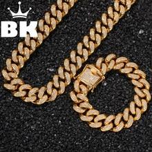 Cadena de eslabones cubanos de acero inoxidable, Hip Hop Punk, color dorado y plateado, conjunto de collar y pulsera cubana de 2cm
