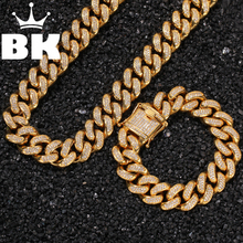 Stainless Steel Curb Cuban Link Chain Hip Hop Punk Heavy Gold silver color Plated Cuban 2cm Necklace and Bracelet Set