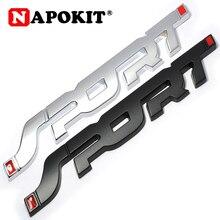 Metal 3D Chrome Silver / Black Auto Car Trunk Racing SPORT Word Letter Logo Emblem Badge Decal Sticker
