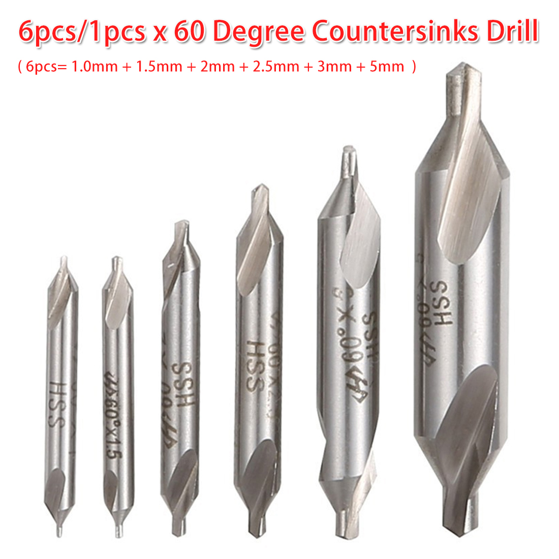 6pcs/1pcs HSS Combined Center Drill Bit 60 Degree Countersink Drill 1.0mm 1.5mm 2mm 2.5mm 3mm 5mm For Bodhi Rosary/ Woodwork