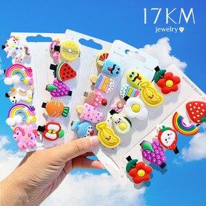 17KM Baby Girls Cartoon Hairpin For Women Children Rainbow Hair Clip Kids Flower Candy Fruit Barrette Hair Accessories