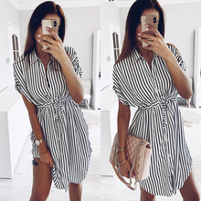 2019 Summer Shirt Dress Black Striped Mini Dress Summer Short Sleeve Lace Up Women Dress Elegant  Women Dress lace up striped dress
