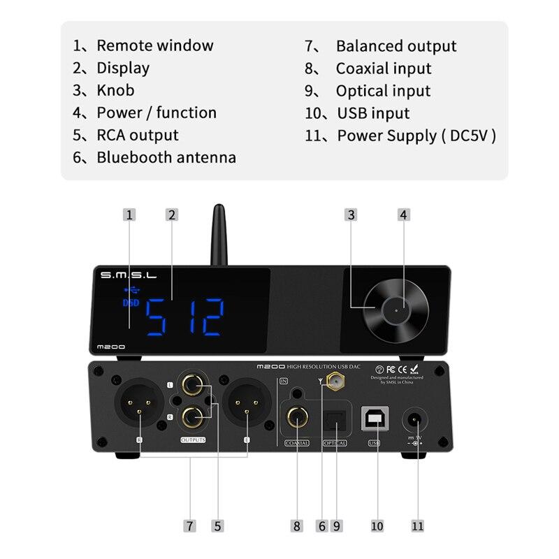 SMSL M200 AK4497EQ DAC Bluetooth 5.0 supporte le décodeur DSD512 32Bit/768KHz avec télécommande - 5
