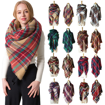 New Women's Double-sided Plaid Printed Cashmere Warm Shawl Scarf for Women Elegant and Luxurious Lar