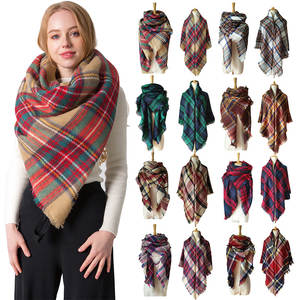 New Women's Double-sided Plaid Printed Cashmere Warm Shawl Scarf for Women Elegant and Luxurious Large Square Scarf Gift Scarf