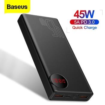 Baseus 20000mAh Quick Charge Power Bank PD 45W 20000 mAh Powerbank Portable External Battery Charger For iPhone Xiaomi Mi Huawei