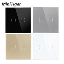 Minitiger AC220V 2 Gang 1Way Light Wall Touch Screen Switch EU standard Touch Switch 4 Color Crystal Glass Panel Touch Switch cheap Plastic Switches 1 year EU Standard 1 way Touch On Off Switch