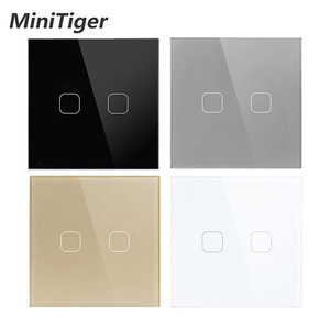 Minitiger AC220V, 2 Gang 1Way Light Wall Touch Screen Switch EU standard Touch Switch 4 Color Crystal Glass Panel Touch Switch