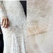 5 meters Exquisite off white Chantilly florla embroidery lace fabric for bridal gown lining overlay hem