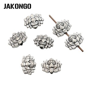 JAKONGO Antique Silver Plated Lotus Spacer Beads Vintage Loose Beads for Jewelry Making Bracelet Accessories DIY 8x12mm 20pcs(China)