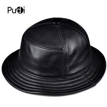 Pudi Man genuine leather bucket fishing hat women real sun hats baseball caps HL901
