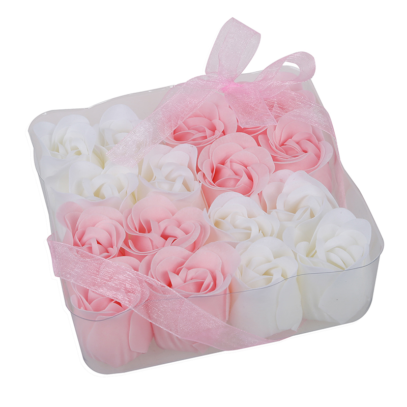 ABVP 16 Pcs Pink White Bathing Scented Rose Soap Petals