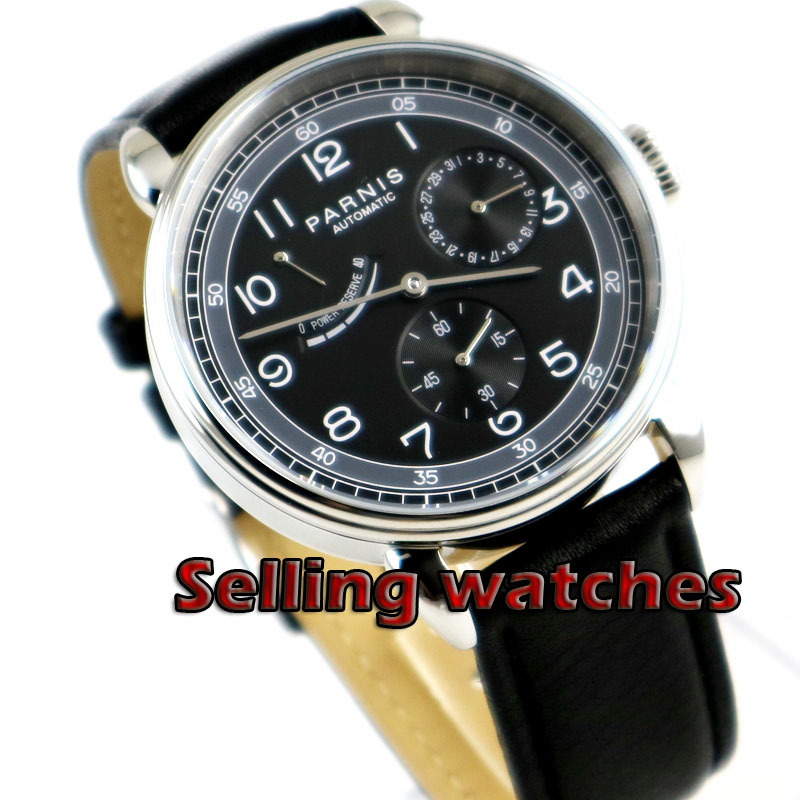 Solid 42mm PARNIS men's watch DATE Power reserve black dial polished case Automatic movement wrist watch