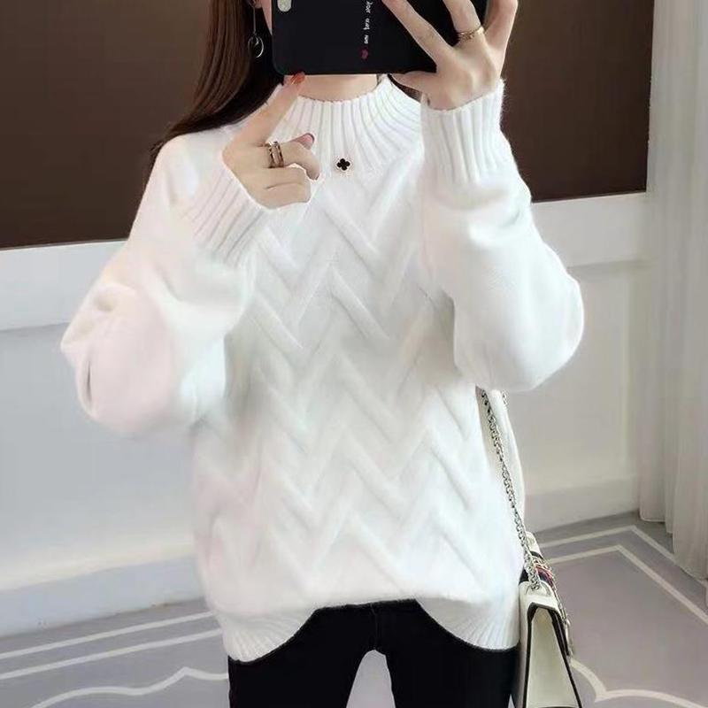 2020 Autumn And Winter Sweater Women's Sleeves Knitted Warm Pullover