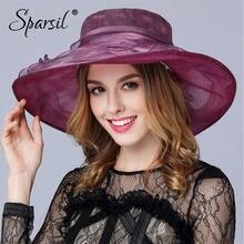 Sparsil Женская Летняя шелковая шляпа от солнца с широкими полями