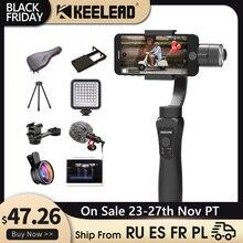 Keelead 3 Trục Gimbal Ổn Định Cầm Tay Điện Thoại Thông Minh Cho Iphone 11 X XS Max Samsung S8 S9 Xiaomi Huawei P30 Đi pro Camera Hành Động