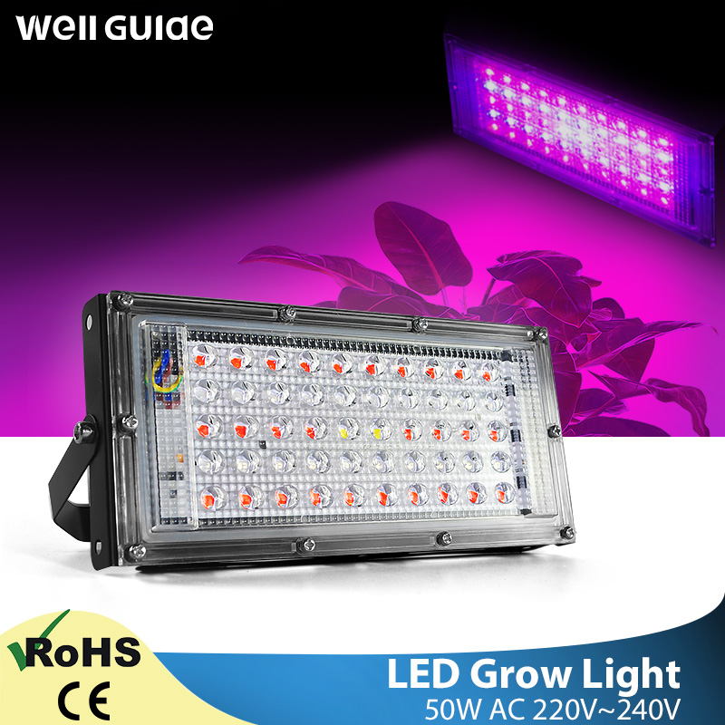Plant Growth Flower LED Flood Light 50W AC 220V  LED Plant Led Lamp Plant Spotlight Greenhouse Plant Hydroponics  Growth Light