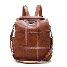 Женский рюкзак из искусственной кожи Scru, коричневый винтажный школьный рюкзак из 2 предметов для девочек подростков, 2019
