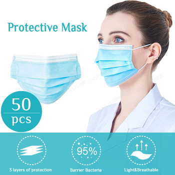 Disposable Mask 50pcs Anti Flu Anti Dust Mask Personal 3 Lays Non woven and melt blown fabrics Masks Elastic Ear Loop