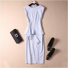 New 2019 elegant sexy high slit plus size dress ruffles front sleeveless office lady formal pencil dresses blue