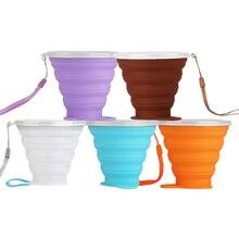 270 мл дорожная чашка из нержавеющей стали силиконовые выдвижные складывающиеся чашки телескопические складные кофейные чашки для спорта на открытом воздухе