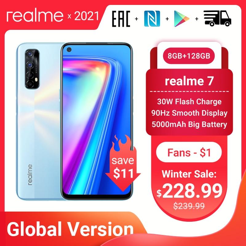 Realme 7 глобальная версия смартфонов 8 Гб Оперативная память 128 Гб Встроенная Память 30 Вт Быстрая зарядка 48MP Quad камеры Helio G95 5000 мА/ч, Батарея игр...
