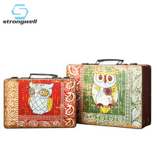 Strongwell Vintage Wooden Storage Box Treasure Chest Secret Jewelry Souvenir Collection Organizer With Handle