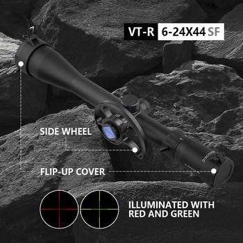 6-24 X44 luneta nowy Parallax Wheel Discovery VT-R SF broń drugi ogniskowy samolot polowanie wiatrówka akcesoria armia tanie i dobre opinie Karabin VT-R 6-24X44SF Obiektyw 22LR Second Focal Plane 30mm 363mm(14 29in) 513g (18 09oz) 3 years Scope Mounts Flip-up cover