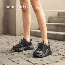 BeauToday Chunky Sneakers Women Cow Leather Black Dad Shoes Round Toe Lace Up Lady Casual Platform Shoes Handmade 29534