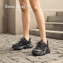 BeauToday zapatillas gruesas mujer cuero de vaca negro papá zapatos punta redonda con cordones señora Casual plataforma zapatos hechos a mano 29534