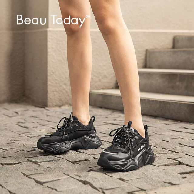 Beautoday chunky 스 니 커 즈 여성 암소 가죽 블랙 아빠 신발 라운드 발가락 레이스 업 레이디 캐주얼 플랫폼 신발 수 제 29534