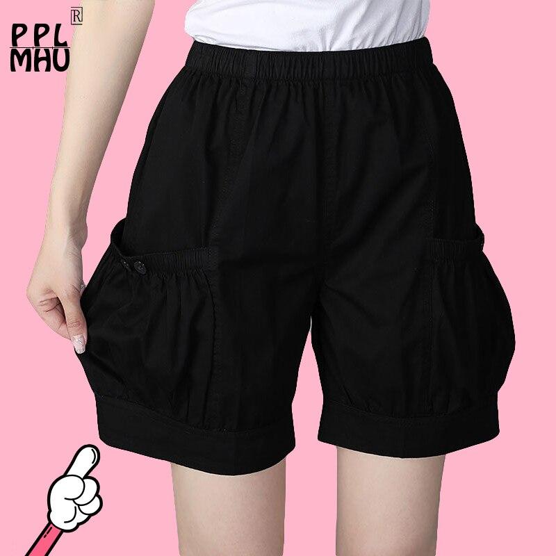 Fashion 2020 Summer Plus Size Shorts Women L- 3xl Female Shorts Casual Loose Ladies Candy Colors High Waist Big Pocket Shorts
