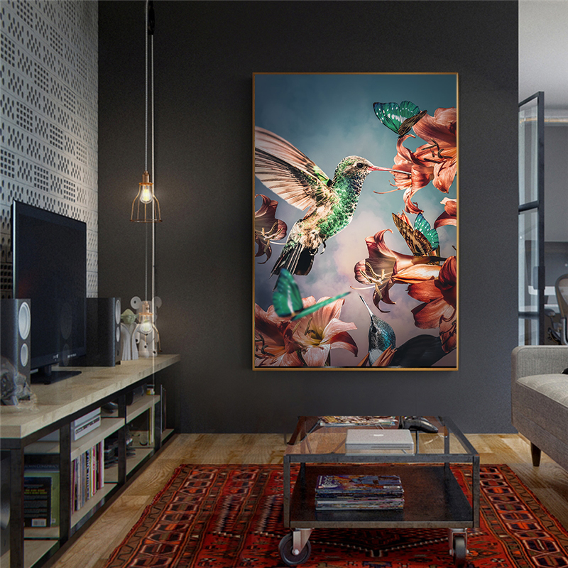 African wild Rhino Animal Poster Nordic style Eagle Hummingbird Paintings for home Light luxury Canvas Painting wall art