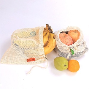 Image 3 - 9pcs Cotton Mesh Vegetables Storage Bag for Kitchen Eco friendly reusable vegetable and fruit ecological bags with Drawstring