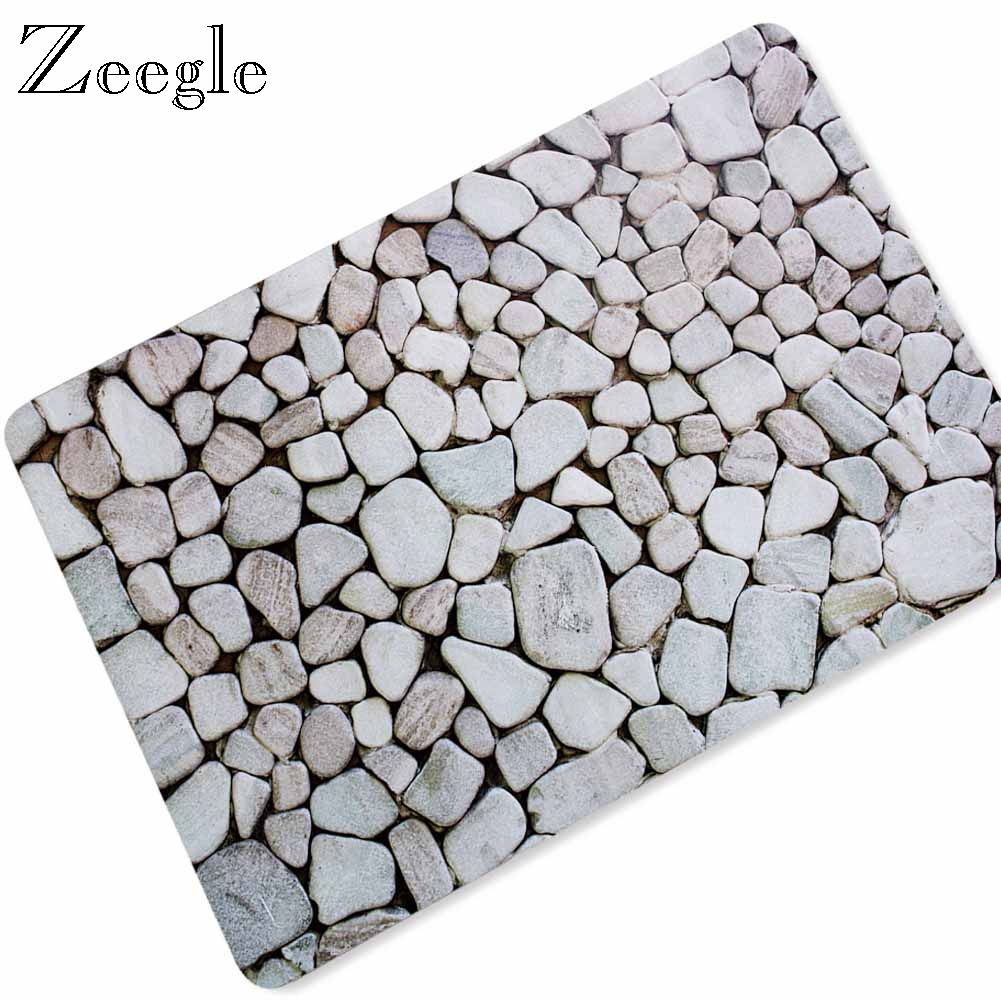 Zeegle Waterproof Rubber Floor Mat Bath Mats Non-slip Kitchen Rug Hallway Entrance Door Mat Floor Carpet Toilet Carpet image