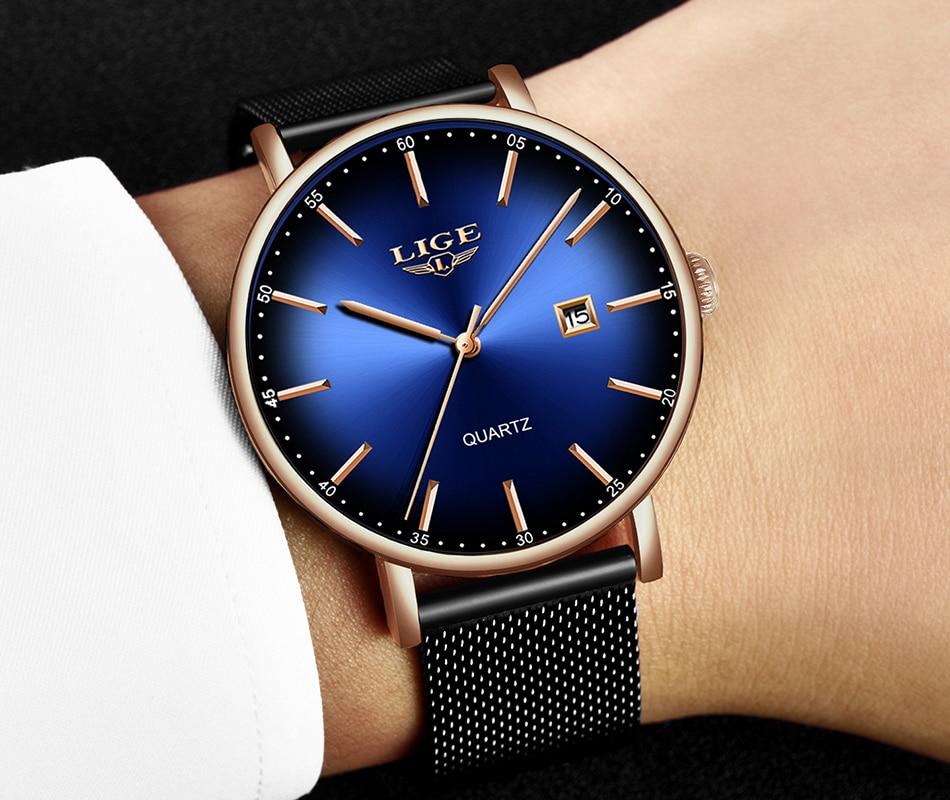 H268a4ddf50e141bd8480056280a3b40e8 LIGE Fashion Mens Watches Top Brand Luxury Blue Waterproof Watches Ultra Thin Date Simple Casual Quartz Watch Men Sports Clock