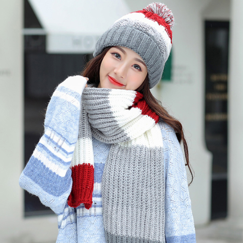 HT2677 Thick Warm Winter Hat Scarf Set Women Knitted Beanie Hat And Scarf Ladies Windproof Winter Accessories Knitted Hat Scarf