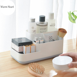 Armazenamento de maquiagem caixa separada organizador cosmético grande capacidade de plástico exibir caso escova batom titular mesa do banheiro