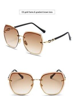 Fashion Oversized Sunglasses Women 2020 UV400 Designer Rimless Square Sun Glasses Woman Vintage  gafas de sol oculos With Box 10