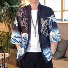 Японское кимоно Азиатский юката для женщин Harajuku топы японский традиционный Восточный этнический кардиган-кимоно унисекс тонкие свободные блузки