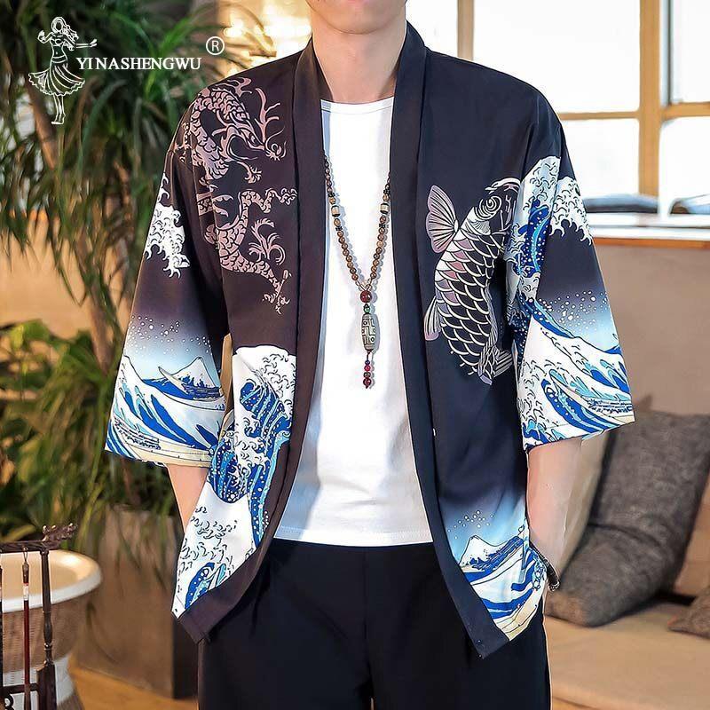 Japanese Kimono Asian Yukata Women Harajuku Tops Japanese Traditional Orient Ethnic Cardigan Kimonos Unisex Thin Loose Blouses