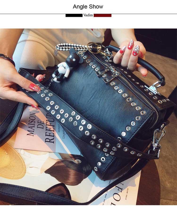 Vadim couro rebite bolsas femininas multifuncionais bolsas