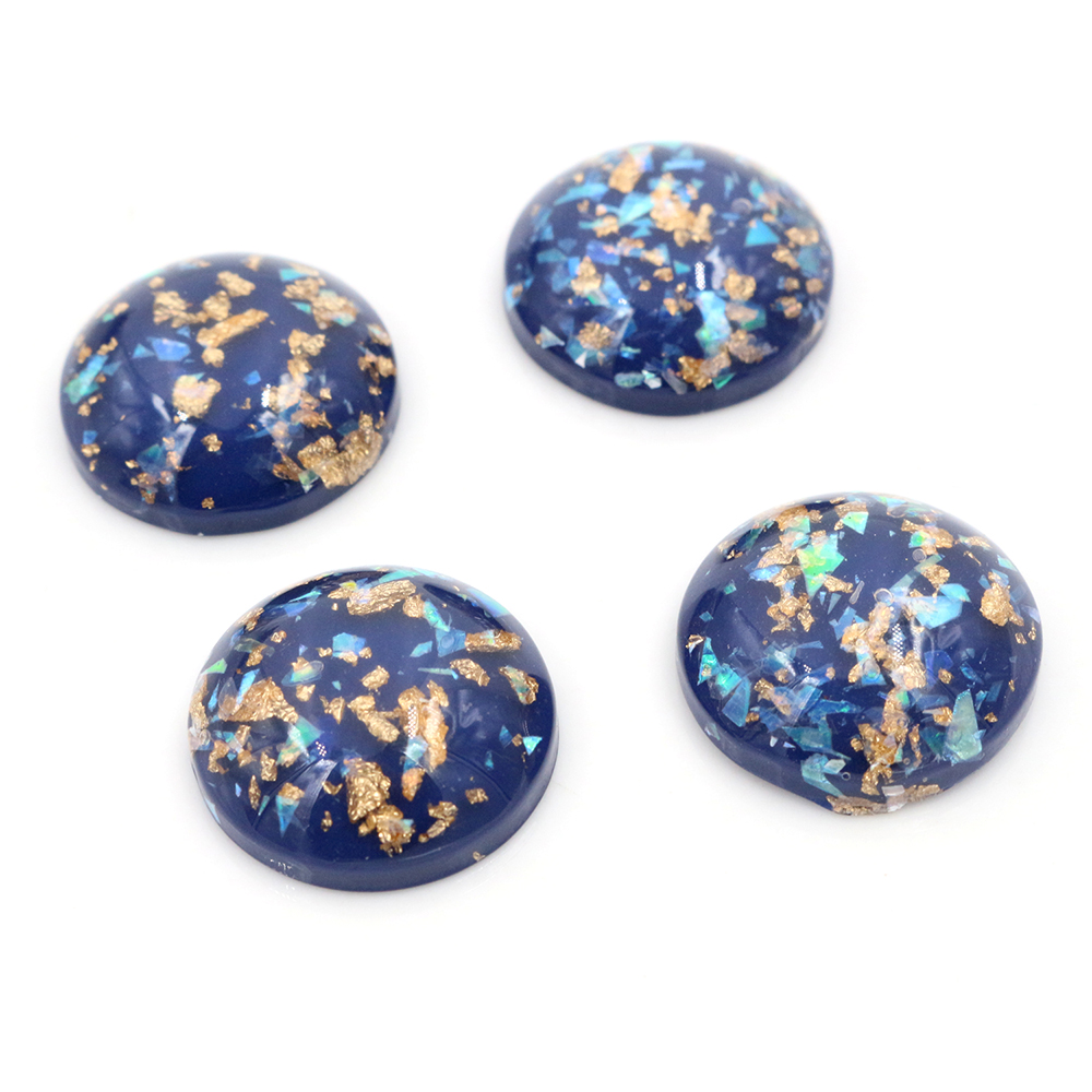 20mm 10pcs/Lot New Fashion Blue Color Built-in Metal Foil Flat Back Resin Cabochons Cameo-V6-10