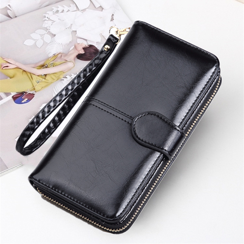 Retro-oil-skin Mobile Phone Long Zipper Coin Wallet Lady's Card Clip Lovely Wallet  Mini Portable Card Holder